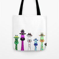 giraffes Tote Bags featuring Giraffes by Jozi
