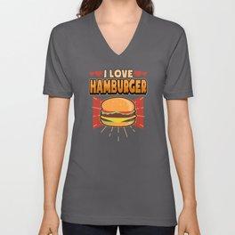 Funny Fast Food Burger Hamburger Saying Gift Unisex V-Neck