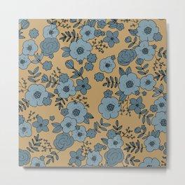 Romantic English Botanical flower Garden cinnamon blue Metal Print
