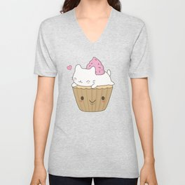 Kawaii Cute Cat Cupcake Unisex V-Neck