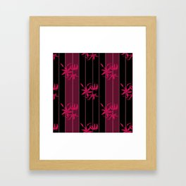 Striped floral maroon and black pattern with lillies Framed Art Print