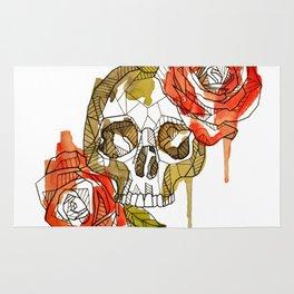 Geometric Skull & Roses Rug