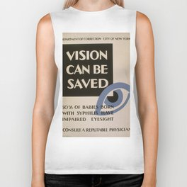 Vintage poster - Vision Can Be Saved Biker Tank