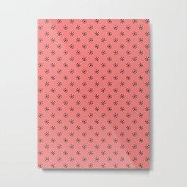 Black on Coral Pink Snowflakes Metal Print