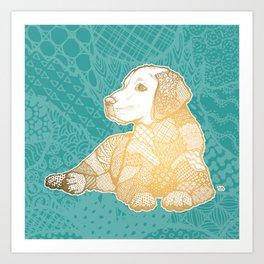 Zentangle Yellow Lab Art Print