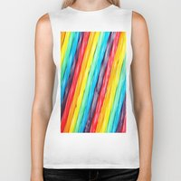 candy Biker Tanks featuring Rainbow Candy: Licorice by WhimsyRomance&Fun