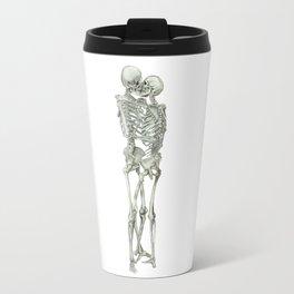 Love, kissing couple, skeleton, anatomy, human, kiss, relationship, marriage Travel Mug
