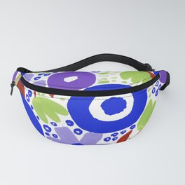 Bold Abstract Floral Inspired Pattern (Maroon, Blue, Purple, Pea Green) Fanny Pack