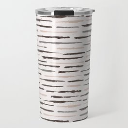 Rustic Texture Grunge Stripes Winter White Travel Mug