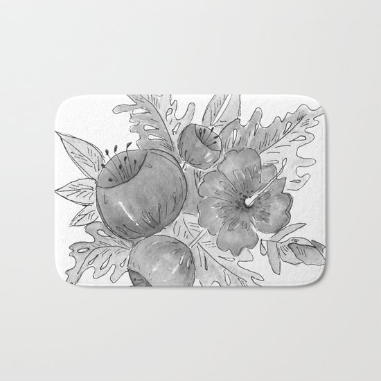 Tropical exotic flowers and leaves . Bath Mat