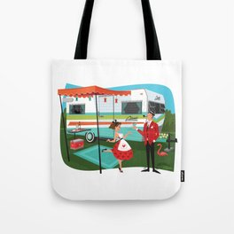 Happy Campers Vintage Travel Trailers, Caravans, Campers and Glamping Art Tote Bag