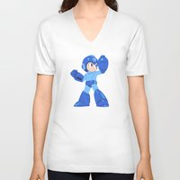 megaman V-neck T-shirts featuring Megaman by Megan Yiu