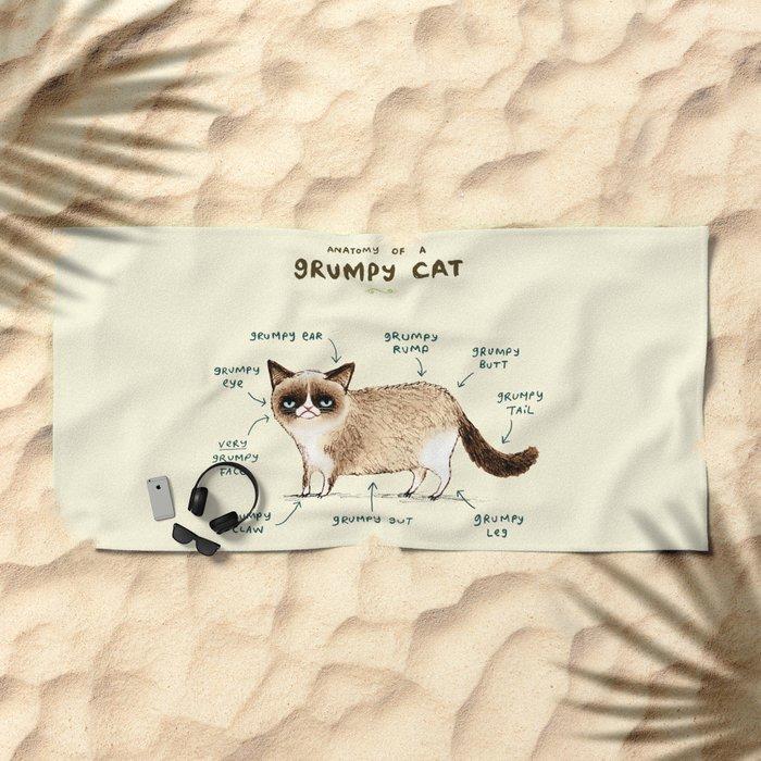 Anatomy Of A Grumpy Kitty Beach Towel By Sophiecorrigan Society6
