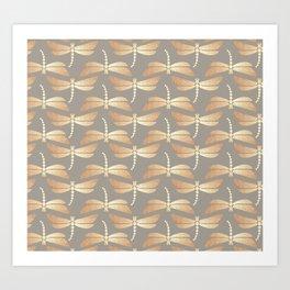 Golden Dragonflies Pattern Art Print