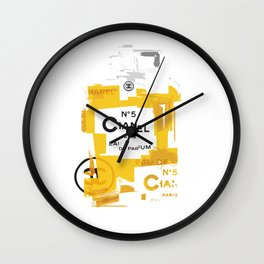 No5 (Gold) Pop Art Illustration Wall Clock