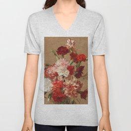 Henri Fantin Latour - Carnations Without Vase Unisex V-Neck