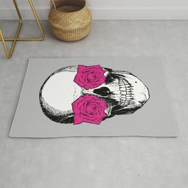 Skull and Roses | Skull and Flowers | Vintage Skull | Grey and Pink | Rug