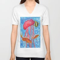 jelly fish V-neck T-shirts featuring Jelly Fish by Julie M Studios