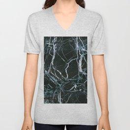 Black Marble With White Ribbons Unisex V-Neck