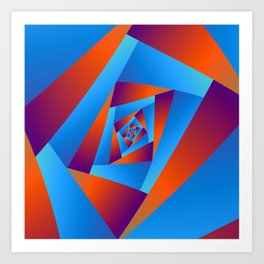 Orange and Blue Spiral Art Print
