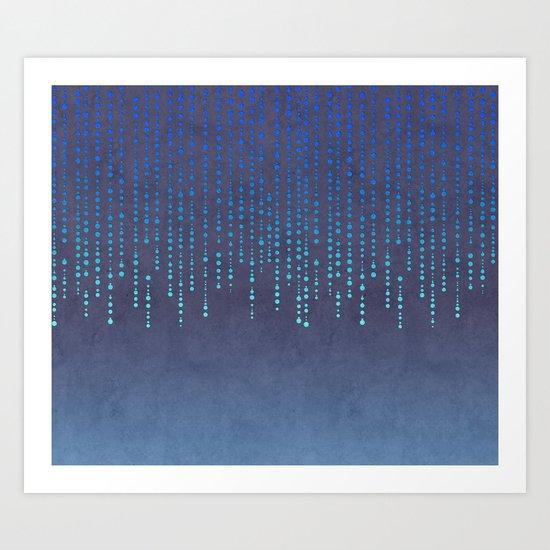 Dark Glamour blue elegant glitter Art Print