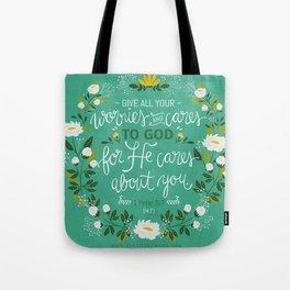 1 Peter 5:7 NLT Tote Bag
