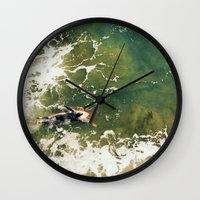 surfer Wall Clocks featuring Surfer  by Ed Pulella