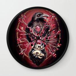Black Raven Bird with Mice Skulls and Fruit Wall Clock