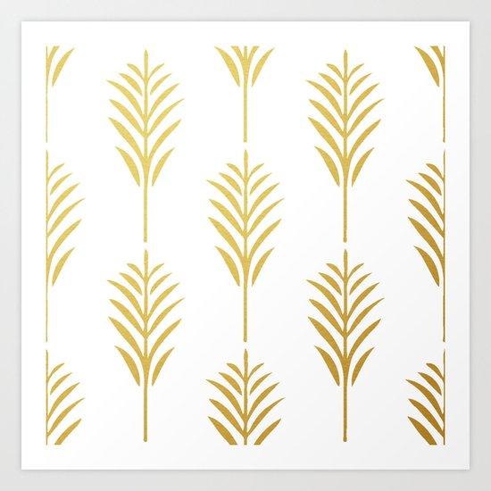 Golden Palm Leaves on White Art Print