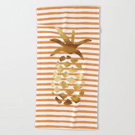 Pineapple & Stripes - Orange/White/Gold Beach Towel