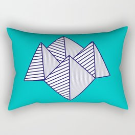 Paku Paku, navy lines on turquoise Rectangular Pillow