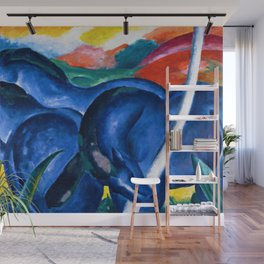 Large Blue Horses pastoral nature landscape painting by Franz Marc Wall Mural