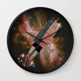 Pink Rocket Wall Clock