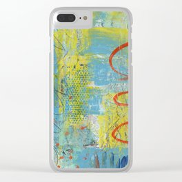 abstract 1 orange rising Clear iPhone Case