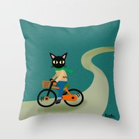 cycling Throw Pillows featuring Cycling by BATKEI