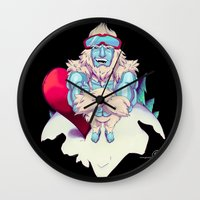 snowboard Wall Clocks featuring Snowboard Yeti [black background] by garciarts
