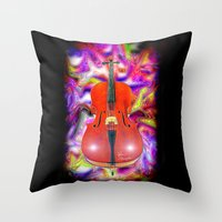 cello Throw Pillows featuring Psychedelic Cello by JT Digital Art
