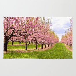 Pink Flowering Trees Rug