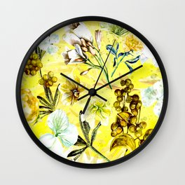 Yellow Floral Wall Clock