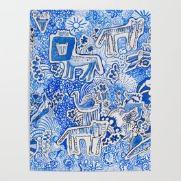 Delft Blue and White Pattern Painting with Lions and Tigers and Birds Poster