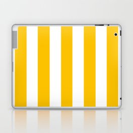 Golden poppy yellow - solid color - white vertical lines pattern Laptop & iPad Skin