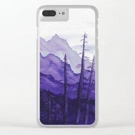 Tonal Mountain Study 2 Purple Clear iPhone Case