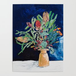 Yellow and Red Australian Wildflower Bouquet in Pottery Vase on Navy, Original Still Life Painting Poster