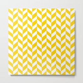 Herringbone Texture (Yellow & White) Metal Print
