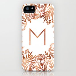 Letter M - Faux Rose Gold Glitter Flowers iPhone Case