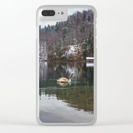 Swans on the Apsee lake, Bavrian alps II Clear iPhone Case