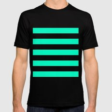 Mint White Stripes Mens Fitted Tee Black MEDIUM
