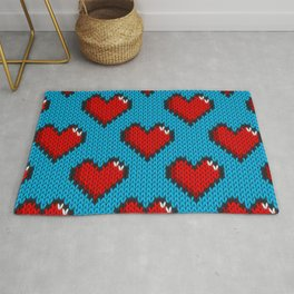 Knitted heart pattern - blue Rug
