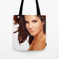 sandra dieckmann Tote Bags featuring Sandra Bullock by RoPerez