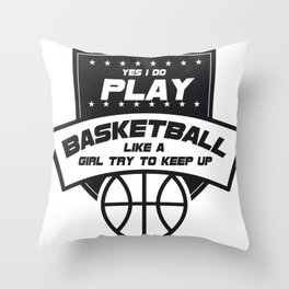 Girls Basketball Sport Gift Throw Pillow